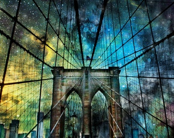 New York Photography, NY  Art, New York  Prints, Urban Art, NY Photo, Brooklyn Bridge, Blue Twilight Sky, Bridge Photography, Universe Art