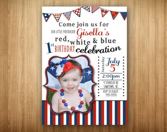 Red White and Blue 1st Birthday Invitation 4th of July Celebration Photo Picture Invitation Girl