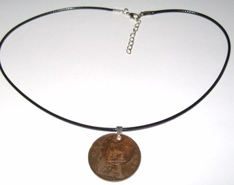 "Black Waxed Cord British 1918 Penny  & Farthing Necklace17"" 43cm With Extension Chain"