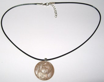 "Black Waxed Cord British 1927 Penny  & Farthing Necklace17"" 43cm With Extension Chain"
