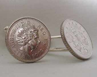 Boxed Pair  British 2008 Old Style Five Pence Penny Coin Cufflinks Wedding Birthday Anniversary