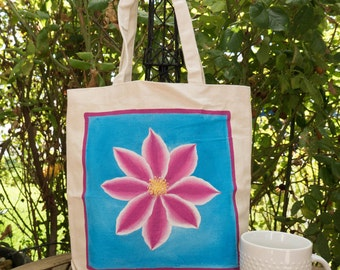 Flower Hand painted 100% cotton canvas tote-hibiscus/clematis