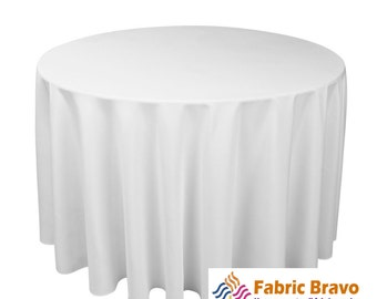 """White 120"""" Inch 100% Woven Polyester Round Tablecloth For Weddings, Parties & Home Use 9040"""
