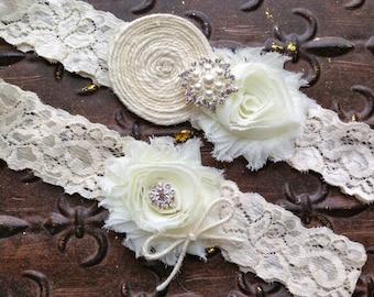 Lace Wedding Garter, Wedding Garter, Ivory Wedding Garter, Wedding Garter Set, Ivory Lace Garter, Ivory Garter, Burlap Wedding Garter