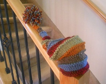 Happy Scrappy Stripe Hat with Big Pompom