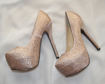 Rhinestone Pumps - Womens Size 7