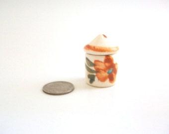 Miniature Canister, Dollhouse Canister, Porcelain Canister, Miniature Cookie Jar, White Canister, Floral Canister, Flour, Sugar, Coffee, Tea