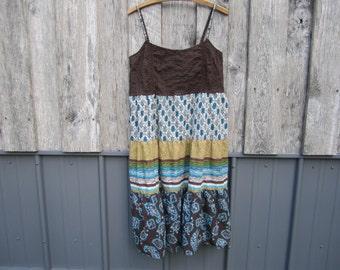 SALE ITEM!  Peasant Hippie Boho Print Sundress Prairie Girl Upcycled Romantic Festival Dress