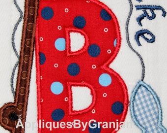 Personalized and appliqued Fishing Rod and Fish Burp Cloth for Boys or Girls