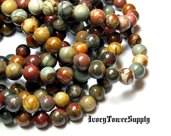 1 Strand 8mm Picasso Jasper Beads, Natural Stone Beads, Multi Color Beads, Semi Precious Beads, Gemstone Beads, Round beads