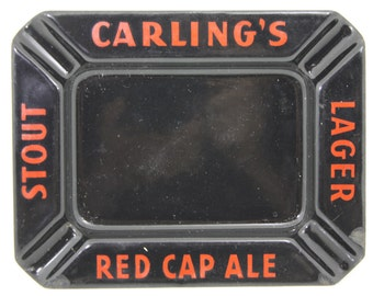 Vintage Carling's Canadian  Red Cap Ale Stamped Metal Enameled Promotional Ash Tray ca. 1940 Tobacciana Breweriana