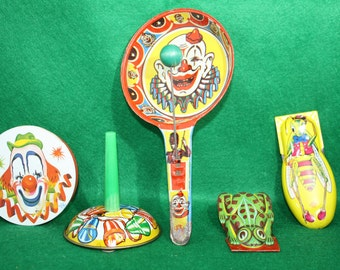 Vintage Lot of Metal Lithograph Noisemakers,  US Metal Toy Mfg., Made in Germany/Made in the USA