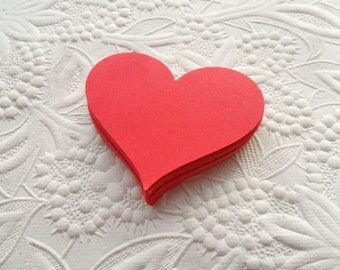 25 Red Heart Die Cuts or Gift Tags-Favor Tags-Hang Tags-Wedding Tags-Shower Tags--Heart Die Cuts-Valentine's Day Tags