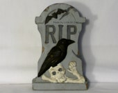 Tombstone Halloween Decor, Goth Decor, Skeletons, Bats, Crows, Cemetary Decoration, RIP, Shelf Sitter, Pine Wood Tombstone, 5 x 7, Rustic