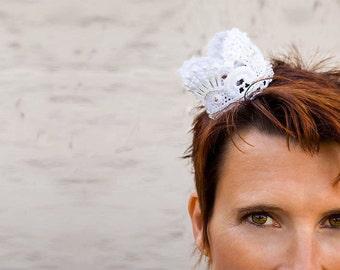 Bridal fascinator beaded lace crown baroque wedding headpiece