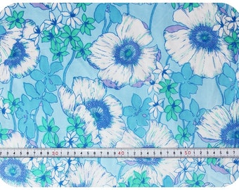 Floral retro vintage fabric with poppies - blue, mint green, purple and white