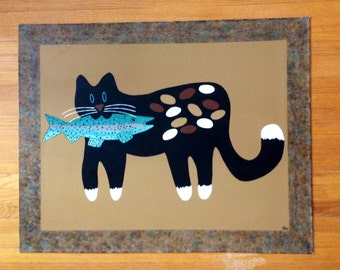Painted Canvas Floorcloth with Whimsical Cat and Fish