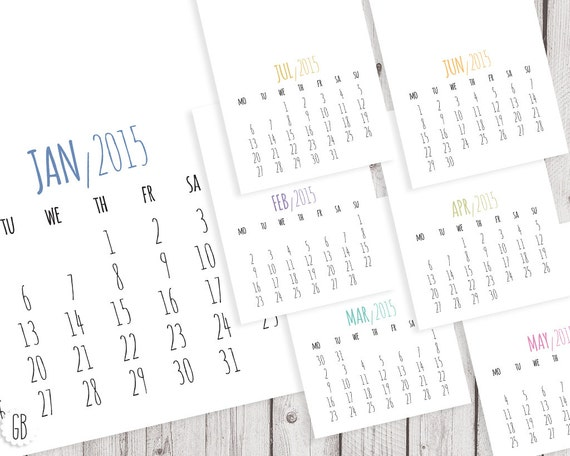 Typography Printable Calendar : Items similar to calendar diy wall