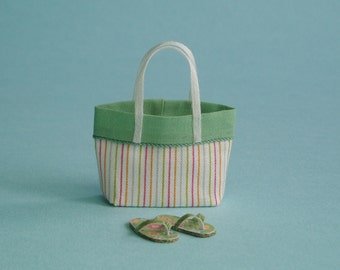 Green Beach Bag or Tote and Flip Flops - 1:12 or 1/12 Scale Dollhouse Miniature, Stripes, Retro Green Flip Flops, Beach, Vacation or Garden