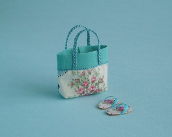Beach Bag or Tote and Flip flops - 1:12 or 1/12 Scale Dollhouse Miniature, Vintage Turquoise Rose Print, Beach, Vacation, Garden, Shopping