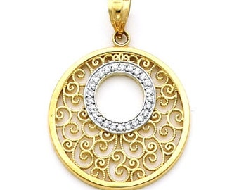 Diamond Pendant, filigree pendant, gold pendant, Circle Pendant, Necklace, gold necklace, Designer Jewelry