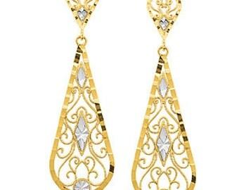 14k Gold Earrings, Gold Earrings, Drop Earrings, Tear Drop Earrings, Fashion Earrings, Dangle Earrings, Chandelier Earrings