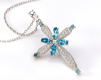 Sterling Silver Cross, Silver Cross, Blue Topaz Cross, Cross Pendant, Cross Necklace, Cross Jewelry, Relidious Jewelry, Silver Cross Pendant
