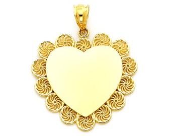 14k gold engravable heart pendant. heart pendant.