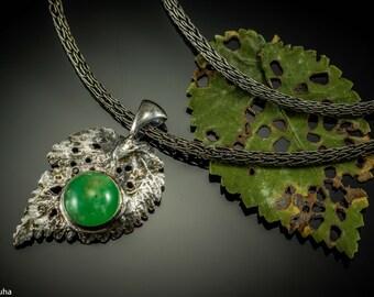 Chrysoprase autumn elm silver leaf pendant