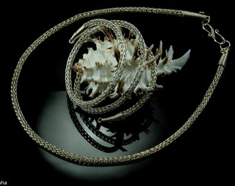 Viking knit hand-made sterling silver necklace model #2