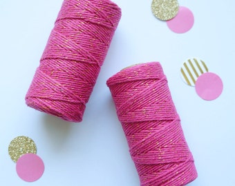 Bakers Twine Roll Pink & Gold