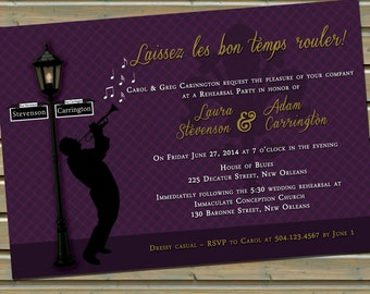 New Orleans Jazz Fleur De Lis Invitation With Envelopes