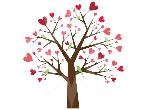 Heart Trees Digital clip art // EPS file included