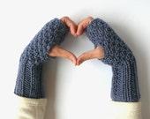 FREE SHIPPING  Fingerless Gloves \ Denim Blueberry Cozy Fingerless Gloves \ Hand Knitting mittens \ Autumn Fall Winter Fingerless Gloves