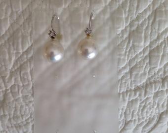 White South Sea and Diamond Earrings