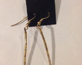 Gold Beaded Fish Hook Earrings