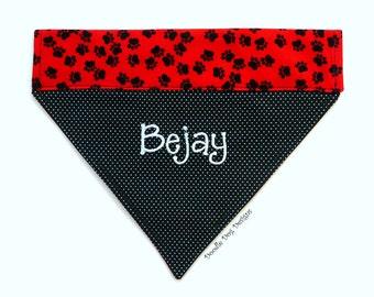 "Personalized Dog Bandana/ Pet Bandana/ Over the Collar Bandana/ ""Black and Red Puppy Paws"""