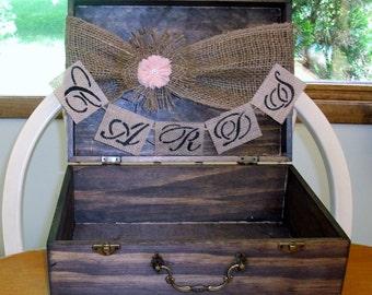 Personalized Rustic Card Box -  Burlap Wedding Reception Card - Box