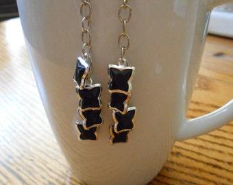 ON SALE Black and Silver Butterfly Chandelier Earrings