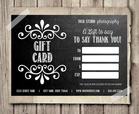 gift certificate template photoshop - gift card printable digital gift certificate photoshop