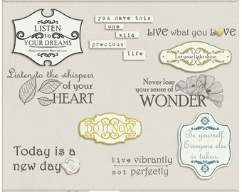 Notes To Self Digital Word Art- Digital Scrapbooking word art for all about me, affirmations, notes - INSTANT DOWNLOAD