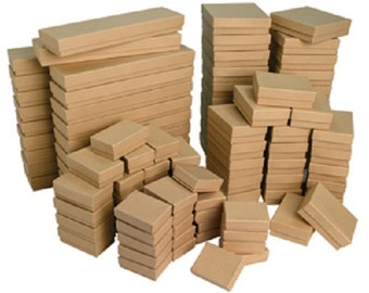 New  Lot OF 20 kraft Cotton Filled Boxes Mixed Jewelry gift Boxes jewelry Gift BOX