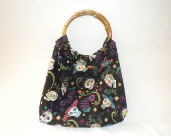 Skull Purse with Bamboo Handles