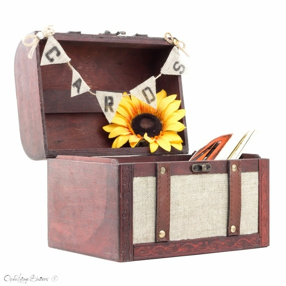Unusual Wooden Wedding Gifts : Unique Rustic Wooden Trunk - Hessian Wedding Gift Card box Holder ...