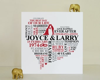 Canvas Ruby Anniversary gift. 40th wedding anniversary gift. Personalised gift. 40 years married. Ruby wedding anniversary present.