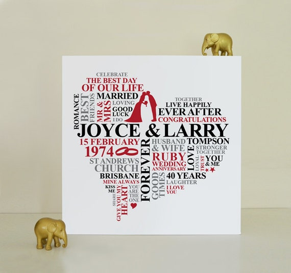 Canvas Ruby Anniversary Gift 40th Wedding