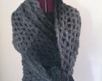Black / grey crochet scarf