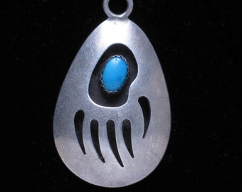 Native Style Silver and Turquoise Pendant for a necklace