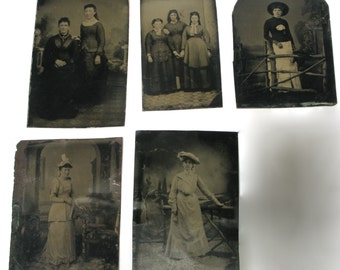 5 Tintypes of Women, late 1800s