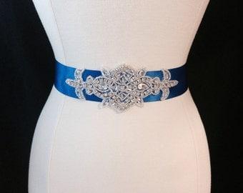 Bridal Sash - Wedding Sash - Rhinestone Bridal Sash - Royal Blue Wedding Dress Sash